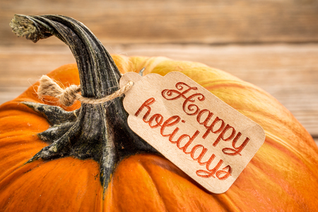 pumpkin with a Happy Holidays price tag - Halloween or Thanksgiving holiday season concept