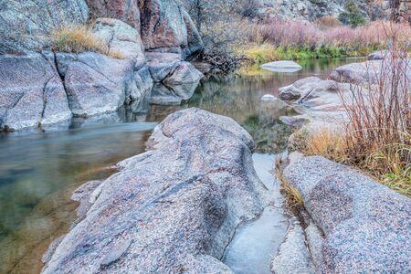 cache la poudre river: mountain stream in northern Colorado - North Fork of Cache la Poudre River at Eagle Nest Open Space near Livermore,late fall scenery