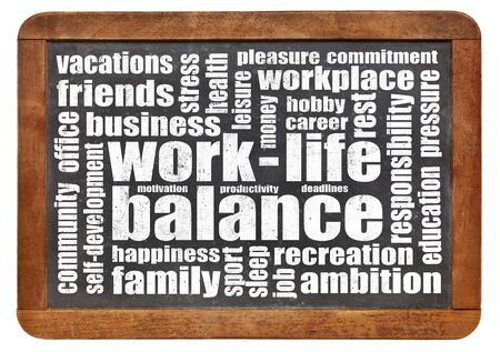 work life balance  concept - a word cloud on a vintage slated blackboard