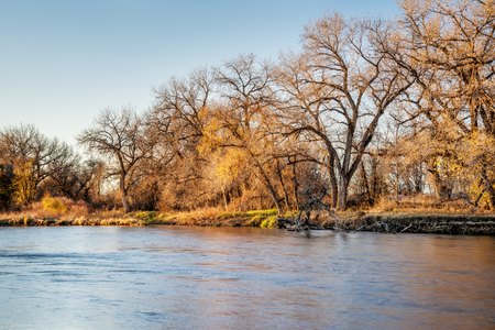 South Platte River in eastern Colorado between Greeley and Fort Morgan, a typical fall or winter scenery Stock Photo