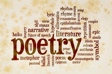 literatura: palabra poesía nube en el papel viejo con manchas amarillas y marrones de libro de la vendimia Foto de archivo