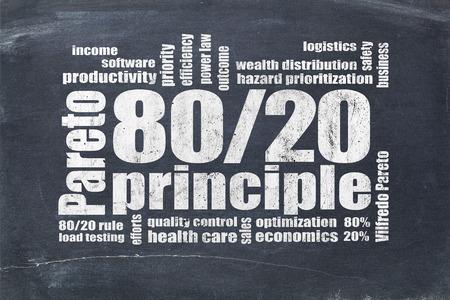 eighty: Pareto principle or eighty-twenty rule - word cloud on a blackboard Stock Photo