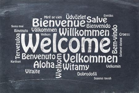 bienvenida: Bienvenida en diferentes idiomas - una nube de palabras en el texto tiza blanca sobre una pizarra pizarra de la vendimia