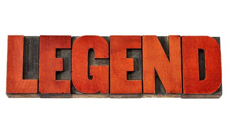 legend: legend -  isolated word in vintage letterpress wood type stained by red ink Stock Photo