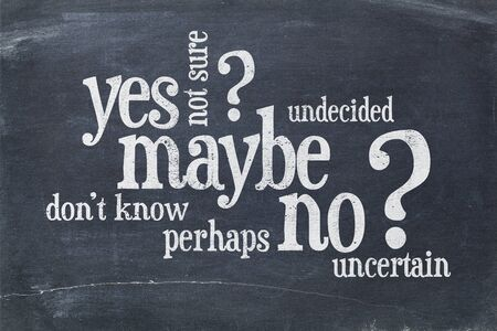 undecided or uncertain concept - yes, no, maybe  word cloud on a vintage blackboard Фото со стока