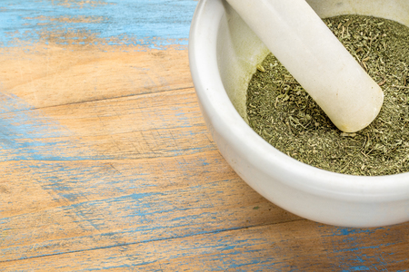substitute: stevia dried leaves crushed in a mortar - natural sweetener, sugar substitute