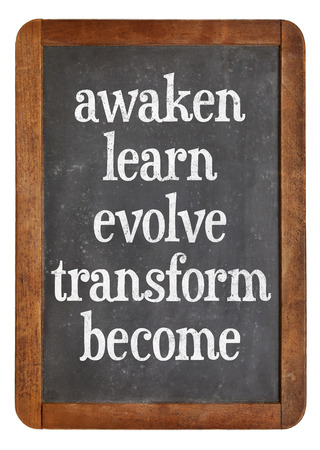 evolve: awaken, learn, evolve, transform and become - inspirational words on a vintage slate blackboard - personal growth concept Stock Photo