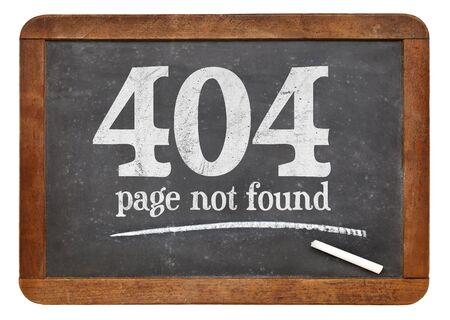 Pagina niet gevonden 404 - wit krijt tekst op een vintage lei schoolbord Stockfoto