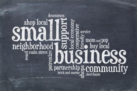 small business concept - word cloud on a vintage slate blackboard Foto de archivo