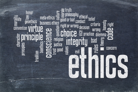 morale: cloud of words or tags related to ethics and moral dilemma - white chalk text on  a slate blackboard blackboard Stock Photo