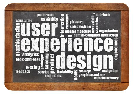 ergonomics: user experience design concept - word cloud in white chalk on a vintage blackboard