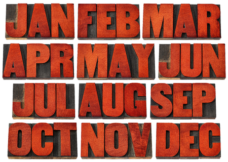 december: icons of 12 months from January to December - a collage of isolated 3 letter symbols in vintage letterpress wood type blocks stained by red ink