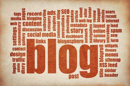 blogs: blog word cloud  - printing on canvas - internet networking concept