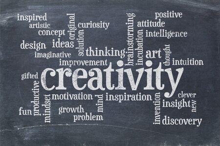 creativity: creativity concept - a word cloud in white chalk  on a  vintage slate blackboard