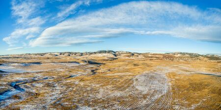 fort collins: aerial panorama of Colorado foothills near Fort Collins, winter or late fall scenery