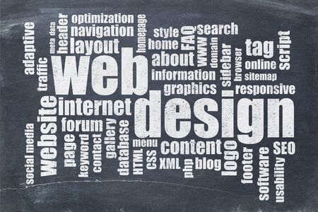 word cloud: web or website design concept - a word cloud on a  vintage slate blackboard Stock Photo