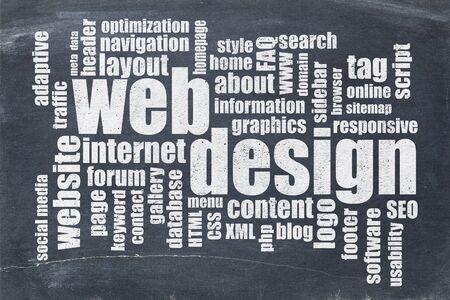 web or website design concept - a word cloud on a  vintage slate blackboard Stock Photo