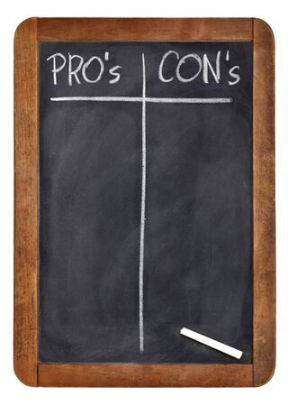 pro: pros and cons, blank list of pro and con arguments - white chalk handwriting on a vintage slate blackboard Stock Photo