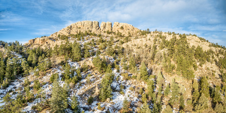horsetooth rock: panoramic landscape of Horsetooth Rock, a landmark of Fort Collins, Colorado, winter scenery with some snow Stock Photo