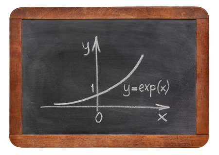 exponential: exponential growth curve explained on blackboard, rough white chalk sketch Stock Photo