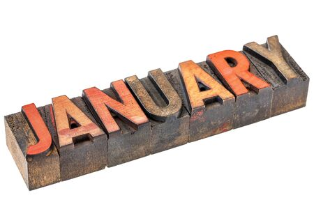 January banner - isolated word in vintage letterpress wood type - calendar series