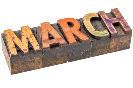 mar: March banner - isolated word in vintage letterpress wood type - calendar concept