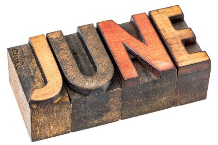 gritty: June  banner - isolated word in vintage letterpress wood type - calendar concept