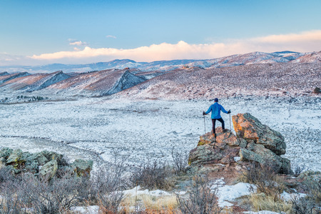 foothills: winter hiking foothills of Rocky Mountains  in northern Colorado, Coyote RIdge Natural Area near Fort Collins Stock Photo
