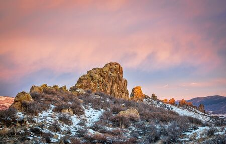 loveland: Devils Backbone rock formation at foothills of Rocky Mountains in northern Colorado near Loveland, winter scenery at sunrise Stock Photo