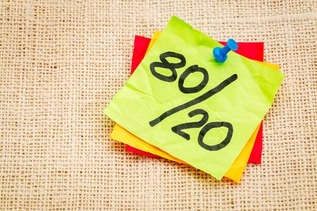 Pareto principle or eighty-twenty rule represented on a sticky note - a reminder or advice Reklamní fotografie