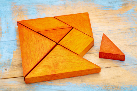 a missing piece in a square built from tangram shapes, a traditional Chinese puzzle game, painted wood background