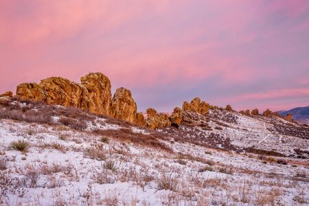 loveland: Devils Backbone rock formation at foothills of Rocky Mountains in northern Colorado near Loveland, winter scenery at dawn