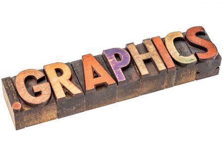 dot graphics - art or design website internet domain in vintage letterpress wood type Imagens