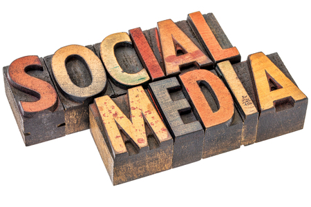social media banner - isolated text in vintage letterpress wood type