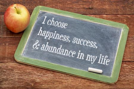 Elijo la felicidad, el éxito y la abundancia en mi vida - palabras afirmación positiva sobre una pizarra pizarra contra la madera granero rojo Foto de archivo