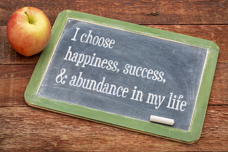 I choose happiness, success and abundance in my life - positive affirmation words on a slate blackboard against red barn wood Foto de archivo