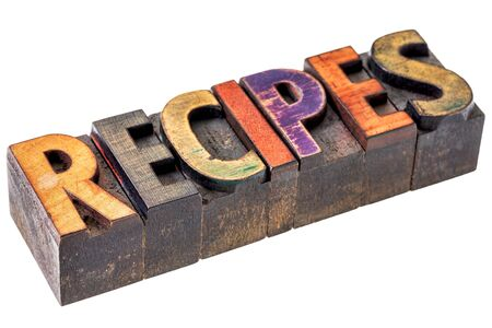 recipes banner - isolated text in vintage letterpress wood type blocks, stained by color inks