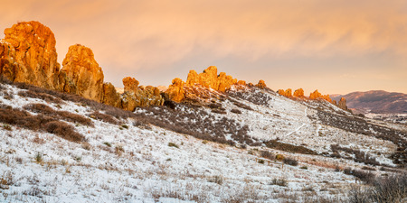 the backbone: Devils Backbone rock formation at foothills of Rocky Mountains in northern Colorado near Loveland, winter scenery at sunrise Stock Photo