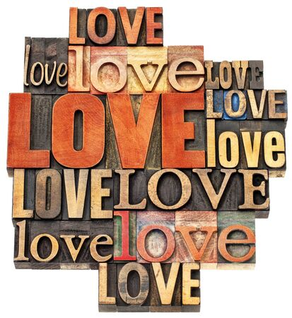 letterpress blocks: love word abstract - an isolated  collage of  text in vintage letterpress wood type printing blocks, a variety of fonts stained by color inks