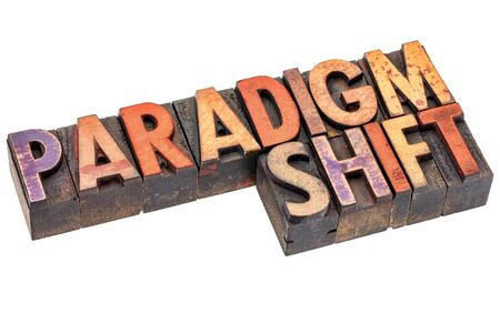 wood type: paradigm shift word abstract - an isolated banner in vintage letterpress wood type blocks stained by color inks