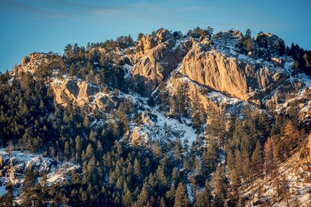 Arthurs Rock in Lory State Park, a popular hiking destination in Fort Collins and northern Colorado, winter scenery