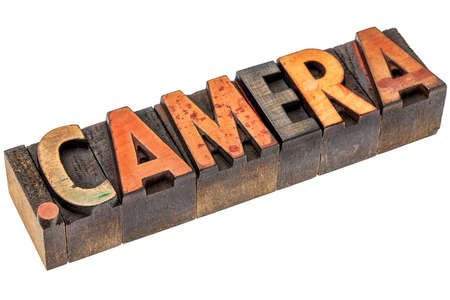 gritty: dot camera - photography website internet domain in vintage letterpress wood type Stock Photo