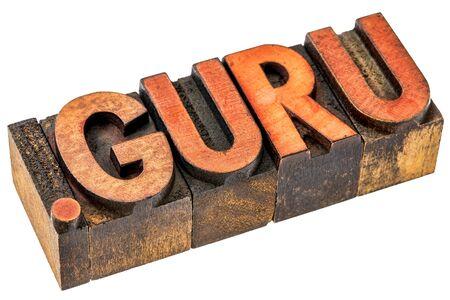 dot guru top level internet domain, isolated text in grunge letterpress wood type
