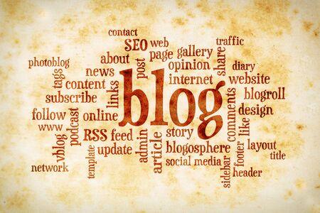 単語やビンテージ染色紙の上のブログやブログのデザインに関連するタグの雲
