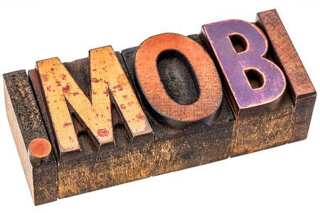 dot mobi - top level internet domain by mobile devices, isolated text in grunge letterpress wood type Imagens