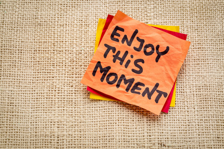 enjoy this moment reminder or advice - handwriting on a sticky note