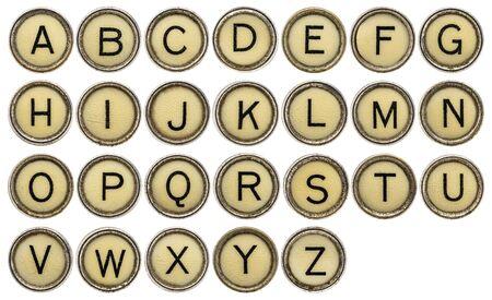 keys isolated: full in English alphabet  in old round typewriter keys isolated on white
