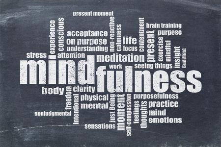 mindfulness word cloud in white chalk on a vintage slate blackboard Foto de archivo