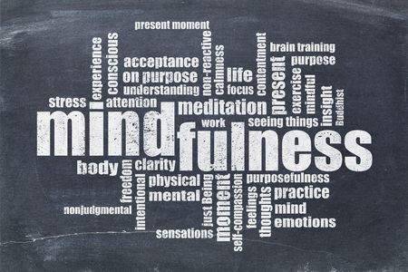 purpose: mindfulness word cloud in white chalk on a vintage slate blackboard Stock Photo