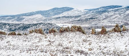 loveland: Panorama of Devils Backbone and Rocky Mountains foothills in cloudy winter scenery, Loveland in northern Colorado